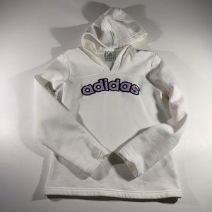Adidas white hoodie, juniors SMALL